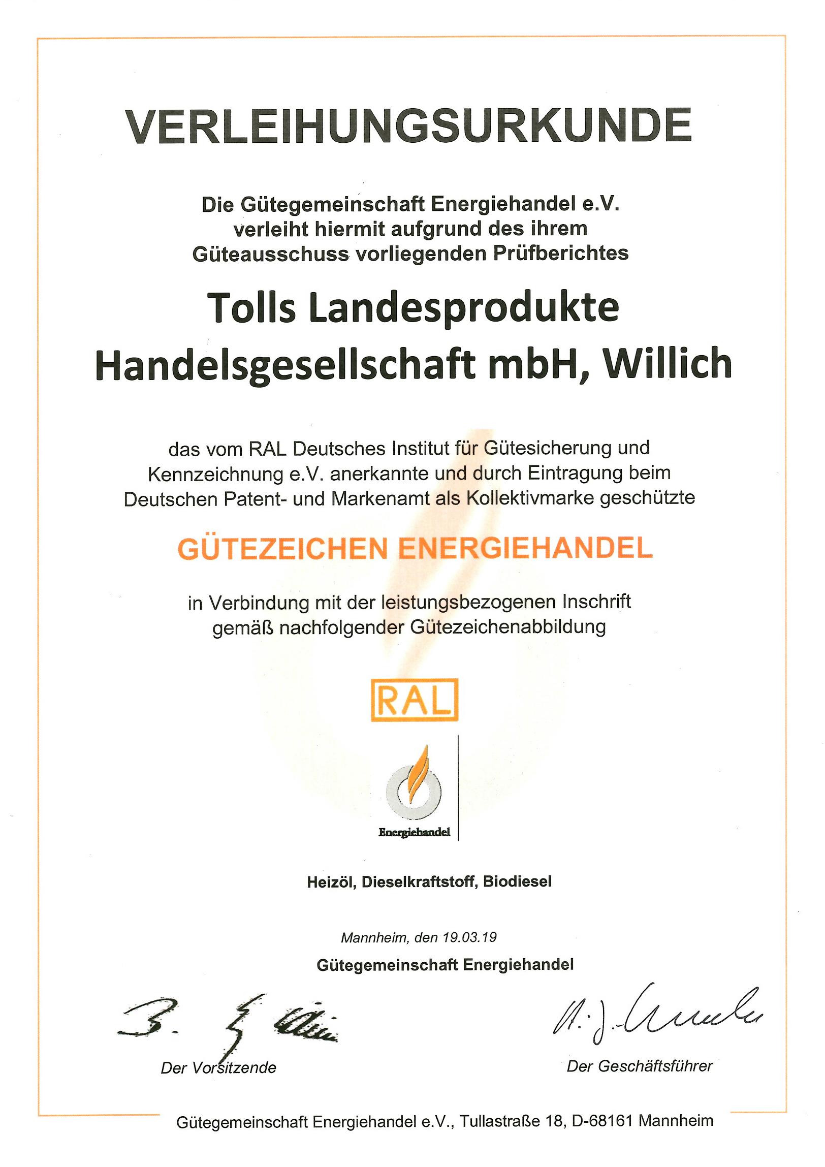 RAL Zertifikat